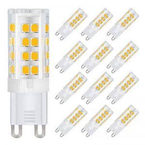 DiCUNO G9 Led Ampoules, Base En Céramique, 4W (Equivalent 40W Ampoules Halogènes), 400Lm, Blanc Chaud 3000k, Culot G9, G9 Ampoules Pour l'Éclairage Domestique, Pack De 12 de la marque image 0 produit
