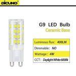 Dicuno G9 Led Ampoules, Base En Céramique, 4W (Equivalent 40W Ampoules Halogènes), 400Lm, Lumière Du Jour 6000K, Culot G9, G9 Ampoules Pour l'Éclairage Domestique, Pack De 12 de la marque DiCUNO image 1 produit