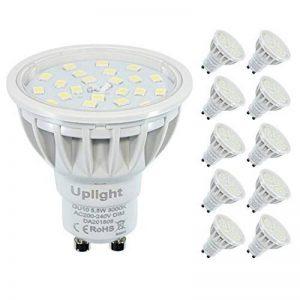 Dimmable Ampoules halogènes à LED GU10 de 50-60W équivalentes 200V-240VAC,Blanc Chaud 3000K 5.5W High CRI RA85 High Lumen 600LM 120°angle de Faisceau GU10 LED Spotlight,éclairage encastré, éclairage de piste,Lot de 10,3 ans de garantie. de la marque Uplig image 0 produit