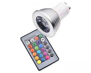 DSstyles 3W GU10 Multicolore LED Ampoule avec Télécommande sans fil, Couleur Charing Mood Lumière Pleins Feux pour Décoration de fête de la marque ds. distinctive style image 0 produit