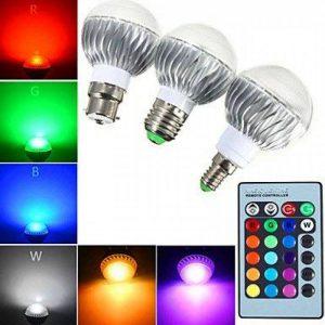 E14 GU10 B22 E26/E27 Ampoules Globe LED A60(A19) 1 diodes électroluminescentes LED Haute Puissance Intensité Réglable Commandée à ( Connecteur : E14 , Couleur de source : RGB ) de la marque Ampoules LED image 0 produit