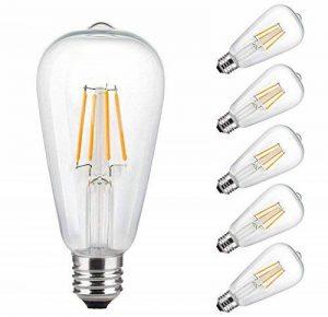 E27 Ampoule LED Edison Vintage ST64 4W 2700K,ONLT Économie d'énergie Remplacement d'ampoule à Incandescence de 40W, Style Rétro Décoration Luminaire Antique Nostalgique Blanc Chaud (6 Pcs) de la marque ONLT image 0 produit