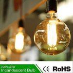 E27 G80 60W Dimmable Edison Ampoules à Incandescence 220-240V Globe Ampoule Antique Lampe, Blanc Chaud Idéal pour Décoration Luminaire Antique, Lot de 6 [Classe énergétique A+] de la marque INT image 2 produit