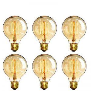 E27 G80 60W Dimmable Edison Ampoules à Incandescence 220-240V Globe Ampoule Antique Lampe, Blanc Chaud Idéal pour Décoration Luminaire Antique, Lot de 6 [Classe énergétique A+] de la marque INT image 0 produit