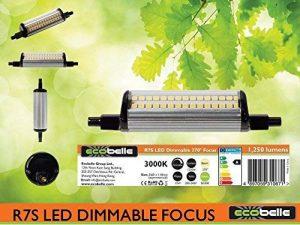 ECOBELLE® 1 x Ampoule LED R7S 10W 1250 Lumen Dimmable, Couleur Blanc Chaud 3000K, 118 mm (Ampoule R7s Flexible, Culot 6mm), 270 Degrés de la marque Ecobelle image 0 produit