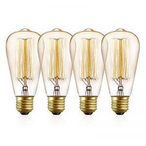 Edison Ampoule halogène E27 à Incandescence, Kakanuo ST64 Ampoule Vintage 60W 220V, Lampe Tungstène Décoration Classique, Ampoule Filament Antique Dimmable Blanc Chaud 2200k (Lot de 4) de la marque Kakanuo image 0 produit