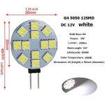 Ei-home 14 Lot Blanc 6000 K côté Pin G4 Ampoule LED, 3 W , 5050-12smd DC 12 V lumières LED pour la lecture, voiture, RV, Cabinet d'éclairage de la marque Ei-Home image 2 produit