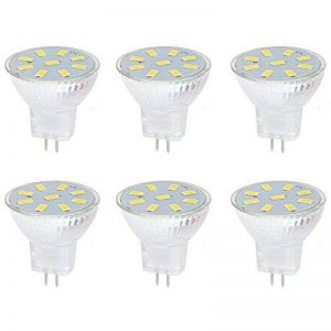 Ei-Home 5733-9SMD MR11 Ampoules LED, AC / DC 10-30V Ampoule d'éclairage, remplacer la lampe halogène, 35X35mm, GU4.0 Base LED Spotlight pour la maison, paysage, encastré, éclairage sur rail, blanc chaud, lot de 6 de la marque Ei-Home image 0 produit