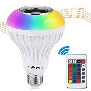 EleLight LED E27 Sans fil Musique 12W 220V Ampoule RGB Bluetooth Lampe Éclairage avec Télécommande pour Scène, Maison, Chambre à Coucher, Fête de la marque EleLight image 0 produit