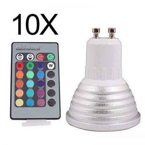 ELINKUME 10X GU10 RGB Ampoule LED 3W 16 Couleurs Changement RGB LED Bulb 150-180LM LED avec Télécommande à Boutons AC95-240V de la marque ELINKUME image 0 produit