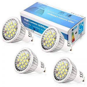 Elinkume 4X GU10 Lumiere LED 16 SMD 2835LED Blanc Froid 6W Super Lumineux Ampoule LED 480-500LM Lampe LED AC95-240V avec Verre de Protection de la marque ELINKUME image 0 produit