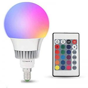 Esbaybulbs Ampoules de couleur E14 10W RGBW LED Ampoules Dimmable 16 changement de couleur Lampe lumière avec telecommande sans fil de la marque Esbaybulbs image 0 produit