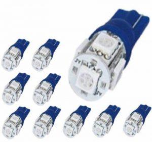 Eximtrade 10 Pièces T10 W5W 194 168 2825 Bleue LED 5 SMD Auto Voiture Ampoule Lumières Feux (Bleu) de la marque Eximtrade image 0 produit
