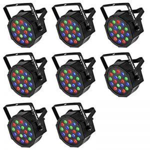 Eyourlife Lot de 8 Par LED DMX 512 Par LED 64 Par LED RGB 54W/18x3W Lumière de Scène Soirée Disco DJ Club EU Prise de la marque Eyourlife image 0 produit