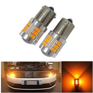 FEZZ Auto LED Ampoules Clignotants BAU15S 1156 150° 5630 18SMD avec Projecteur, 18W Ambre Jaune, Paquet de 2 de la marque FEZZ image 0 produit