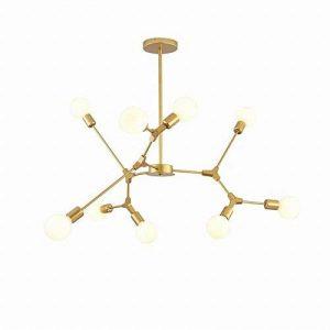 FGHOME Nordic Chandelier Postmoderne Salon Lumières Simple Personnalité Créative Chambre Restaurant Molecular Magic Bean Tree Fork Lampe (Or, 9 Têtes) de la marque FGHOME image 0 produit