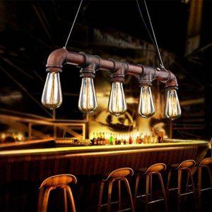 Fuloon Luminaire de Suspension 5 Edisons Lustre Rétro en Bronze Tuyau en Métal Finition Vintage Lampe d'Atmosphère Pour Café Bar de la marque Fuloon image 0 produit