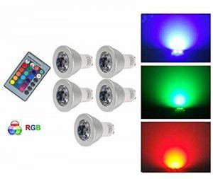 G-Anica® Lot de 5 GU10 RGB Ampoule LED 3W 16 Couleurs Changement RGB LED Bulb 250-270LM LED avec Télécommande à Boutons AC95-240V [Classe énergétique A+] de la marque G-Anica image 0 produit