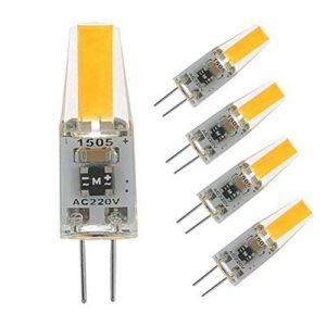 G4 led 220V 2W 2700K blanc chaud 200LM, ampoules en silicone remplacent les ampoules halogènes traditionnelles 20W, angle de faisceau de 360 °, paquet de 5 unites de la marque HGHC image 0 produit