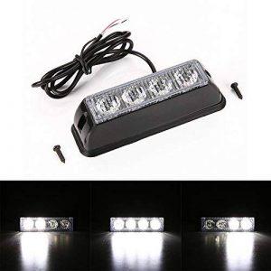 Gledto 12V Blanc 4 LED Feux de Pénétration Lumière Stroboscopique pour Voiture Fixation à vis 17 Modes Auto Flash Lampe Clignotant Avertissement Urgence Secours Travaux pour Véhicule Camions SUV de la marque Gledto image 0 produit