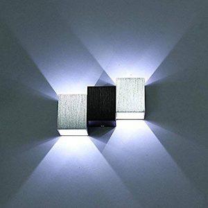 Glighone Applique Murale Spot LED 6W Intérieur Moderne Carré Cube Up Down en Aluminium Eclairage Désigne Original pour Chambre Bureau Couloir Salon Hôtel Restaurant Bar Blanc Froid de la marque Glighone image 0 produit