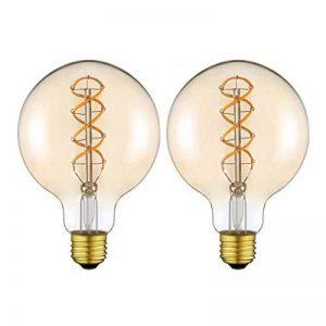 Grande Globe vintage Edison Ampoule LED Lampe Variateur d'intensité Sans Scintillement Spirale Flexible LED Ampoule à Filament E27 Base Blanc Chaud 2200 K 160 lm 4W équivalent 25W Ambre [Classe énergétique A + +] (G125 / 2 Pack, 125) de la marque Yunte image 0 produit