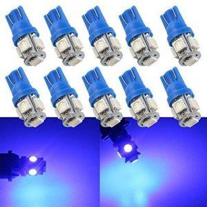 Grandview T10 501 Ampoule LED 24V T10 Super lumineux W5W 194 165 Bleu 5-SMD 5050 LED Intérieur de la voiture, Tableau de bord, Plaque d'immatriculation, Lampes frontales Ampoules de démarrage Pack de 10 de la marque Grandview image 0 produit