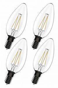 greenandco 4X Ampoule à Filament LED dimmable E14 4W (équivalent 40W) 470lm 2700K (Blanc Chaud) 360° 230V Verre, Aucun Scintillement de la marque greenandco image 0 produit