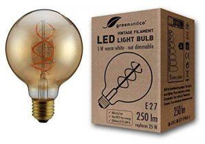 greenandco® Ampoule à Filament LED Vintage E27 G95 5W (équivalent 25W) 250lm 2000K (blanc chaud) 360° 230V Verre, aucun scintillement, non-gradable de la marque greenandco image 0 produit
