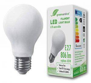 greenandco Ampoule à Filament LED dépolie E27 6W (équivalent 60W) 806lm 2700K (blanc chaud) 360° 230V AC Verre de la marque greenandco image 0 produit