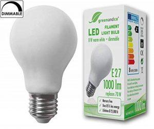 greenandco Ampoule à Filament LED dépolie graduable E27 8W (équivalent 70W) 1000lm 2700K (blanc chaud) 360° 230V AC Verre de la marque greenandco image 0 produit