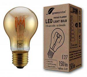 greenandco® Ampoule à Filament LED Vintage E27 3W (équivalent 16W) 150lm 2000K (blanc chaud) 360° 230V Verre, aucun scintillement, non-gradable de la marque greenandco image 0 produit