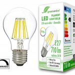 greenandco® IRC 90+ Ampoule à Filament LED graduable E27 8W (équivalent 54W) 710lm 2700K (blanc chaud) 360° 230V Verre, aucun scintillement de la marque greenandco image 1 produit