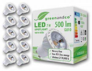 Greenandco® - Set de 10 Spots LED GU10 / 7W / 2700K (blanc chaud) / 230V AC de la marque greenandco image 0 produit
