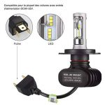 GreenClick 2*H4 Seoul-CSP LED phares Voiture Ampoules,Etanche IP65, 50W 8000LM,Car Headlight LED Véhicule Blanc Pur 6500K Tout-en-un kit de conversion.(H4) de la marque Greenclick image 3 produit