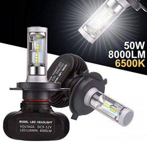 GreenClick 2*H4 Seoul-CSP LED phares Voiture Ampoules,Etanche IP65, 50W 8000LM,Car Headlight LED Véhicule Blanc Pur 6500K Tout-en-un kit de conversion.(H4) de la marque Greenclick image 0 produit