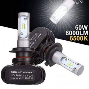 GreenClick 2*H7 Seoul-CSP LED phares Voiture Ampoules,Etanche IP65, 50W 8000LM,Car Headlight LED Véhicule Blanc Pur 6500K Tout-en-un kit de conversion.(H7) de la marque Greenclick image 0 produit