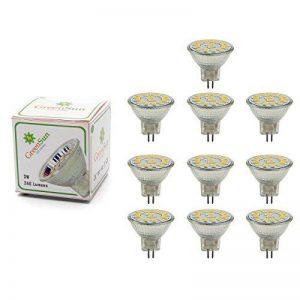 GreenSun 3W MR11 GU4 LED Ampoule Spot Lampe 15 x 5733 SMDs Bulb Blanc Chaud AC/DC 12-30V 240 Lumen 2700K Non Dimmable Pack de 10 Unités de la marque GreenSun image 0 produit