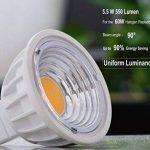 GU5.3 COB Projecteur MR16 5.5W LED Ampoule Equivalente à Incandescence 50-60W,4000K Blanc Naturel, Éclairage encastré, Spots, AC/DC12V Not Dimmable, 550LM RA90,90°Larges Faisceaux,Lot de 6. de la marque Uplight image 1 produit