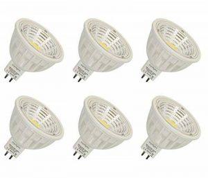 GU5.3 COB Projecteur MR16 5.5W LED Ampoule Equivalente à Incandescence 50-60W,4000K Blanc Naturel, Éclairage encastré, Spots, AC/DC12V Not Dimmable, 550LM RA90,90°Larges Faisceaux,Lot de 6. de la marque Uplight image 0 produit