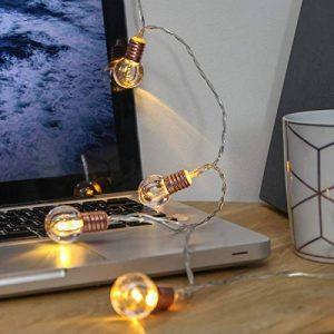 Guirlande Lumineuse LED 10 Mini Ampoules Rondes Finition Culot Or Rose à Piles - avec Minuteur On/Off Auto - 1,50 Mètre de la marque Festive Lights image 0 produit