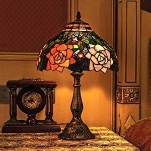 Gweat Tiffany 12-Pouce Européenne Pastorale Style Main Vitrail Élégant Rose Lampe De Table Lampe De Chevet de la marque Gweat Tiffany image 0 produit