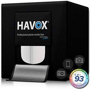 HAVOX - Studio photo HPB-60XD - Dimension 60x60x60cm - 4 LED Dimmable Lumière du jour 5500k - 26,000 lumens - CRI 93 - Réalisez vous-même vos photos commerciales e-commerce ! de la marque HAVOX image 0 produit