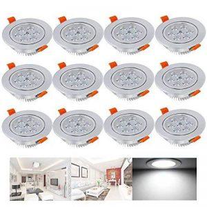 Hengda® 12er Punto 7W LED luz empotrada lámpara de la luz establecido rebajada blanco fresco techo de la marque Hengda image 0 produit