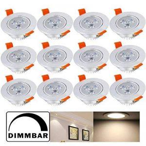 Hengda® pack de 12 Luminaires encastrés LED 3W Faible profondeur d'encastrement Dimmable Blanc chaud Luminaires de plafond 230V Spot à encastrer, lampe à économie d'énergie Lampe à économie d'énergie de la marque Hengda image 0 produit