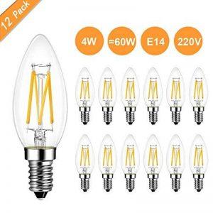 Heofean E14 Bougie LED Ampoules 4 W, 360LM Blanc Chaud 2700 K, 360 Degrés Angle de Faisceau, Petit Culot à Vis Lustre Lampe Ampoules, Ampoules à Incandescence 60 W équivalent, d'économie d'énergie Ampoules Flamme, LED rétro à Filament Bougie Ampoules - Lo image 0 produit