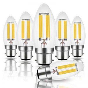 Hizashi 6W B22 LED Bougie ampoules à filament, 60W Ampoule à incandescence équivalent, 650LM, 2700 K Blanc chaud, Non Dimmable, lot de 6 de la marque Hizashi image 0 produit