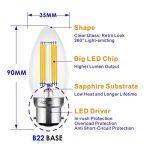 Hizashi 6W B22 LED Bougie ampoules à filament, 60W Ampoule à incandescence équivalent, 650LM, 2700 K Blanc chaud, Non Dimmable, lot de 6 de la marque Hizashi image 1 produit