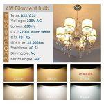 Hizashi 6W B22 LED Bougie ampoules à filament, 60W Ampoule à incandescence équivalent, 650LM, 2700 K Blanc chaud, Non Dimmable, lot de 6 de la marque Hizashi image 3 produit