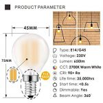 Hizashi 90+ CRI 6W Dimmable LED Ampoules SES, entièrement réglable en intensité, 2700K Blanc Chaud, LED Golfball petite vis Edison, équivalent 60Watt, Culot E14, lot de 5 de la marque HIZASHI image 1 produit